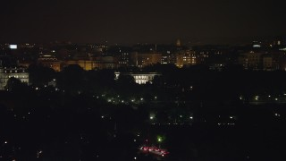 AX77_042 - 5K stock footage aerial video of view of The White House, Washington, D.C., night