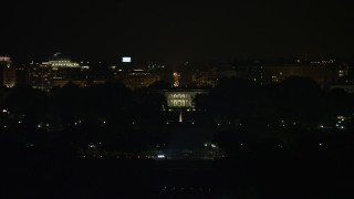 AX77_042E - 5K stock footage aerial video of view of The White House, Washington, D.C., night