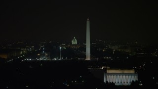 AX77_070 - 5K stock footage aerial video of the Capitol Building and Washington Monument seen from Lincoln Memorial in Washington, D.C., night