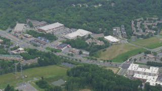 AX78_042 - 5K stock footage aerial video of a shopping center by Frederick Avenue in Gaithersburg, Maryland