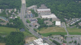 AX78_043 - 5K stock footage aerial video flying by shopping center on Frederick Avenue in Gaithersburg, Maryland