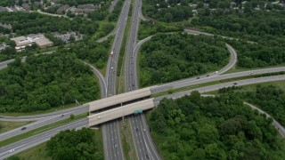 AX78_070 - 5K stock footage aerial video of the interchange between Clarksville Pike and Columbia Pike, Maryland