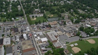 AX78_078 - 5K stock footage aerial video of shops on Frederick Road in Catonsville, Maryland
