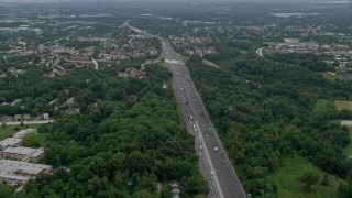 AX78_079 - 5K stock footage aerial video of heavy traffic on Interstate 695 in Catonsville, Maryland