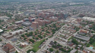 AX78_090 - 5K stock footage aerial video of Johns Hopkins University School of Medicine, Baltimore, Maryland