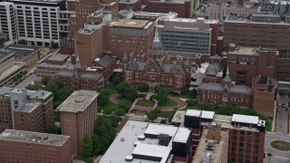 AX78_092 - 5K stock footage aerial video of Johns Hopkins Hospital in Baltimore, Maryland