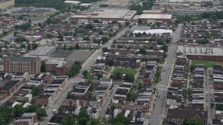 AX78_119 - 5K stock footage aerial video of urban row houses in Baltimore, Maryland