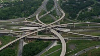 AX78_127 - 5K stock footage aerial video of light traffic on I-95 and I-695 interchange east of the city of Baltimore, Maryland