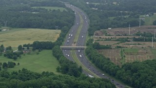 AX78_135 - 5K stock footage aerial video approaching Interstate 95 with light traffic in Perry Hall, Maryland