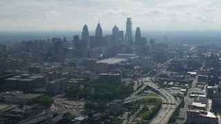 AX79_006 - 5K stock footage aerial video of the skyline  and Pennsylvania Convention Center in Downtown Philadelphia, Pennsylvania