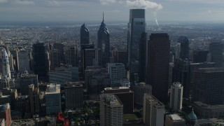 AX79_011 - 5K stock footage aerial video of tall Downtown Philadelphia skyscrapers, Pennsylvania
