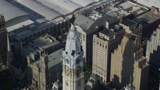 AX79_014 - 5K stock footage aerial video William Penn statue atop Philadelphia City Hall, Pennsylvania