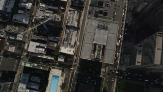 AX79_027 - 5K stock footage aerial video of a bird's eye view of city buildings and streets in Downtown Philadelphia, Pennsylvania