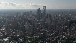 AX79_047E - 5K stock footage aerial video approaching skyscrapers in Downtown Philadelphia, Pennsylvania