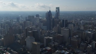 AX79_048 - 5K stock footage aerial video of One and Two Liberty Place in Downtown Philadelphia, Pennsylvania
