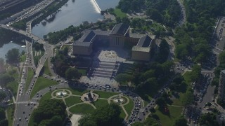 AX79_050 - 5K stock footage aerial video flying by the Philadelphia Museum of Art, Pennsylvania
