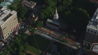 AX79_057 - 5K stock footage aerial video flying away from Old City Hall and Independence Hall, Downtown Philadelphia, Pennsylvania
