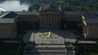 AX79_061 - 5K stock footage aerial video flying over the Philadelphia Museum of Art, Pennsylvania