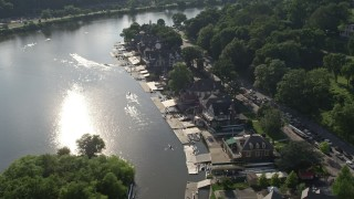 AX79_062 - 5K stock footage aerial video of Boathouse Row beside the Schuylkill River, Philadelphia, Pennsylvania
