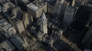AX79_072 - 5K stock footage aerial video tilting to a bird's eye view of Philadelphia City Hall, Pennsylvania