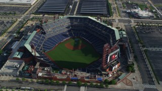 AX79_078 - 5K stock footage aerial video tilting to a bird's eye view of Citizens Bank Park, Philadelphia, Pennsylvania