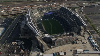AX79_079 - 5K stock footage aerial video tilting to a bird's eye view of Lincoln Financial Field, Philadelphia, Pennsylvania