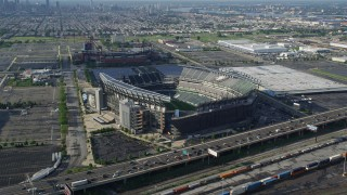 AX79_082 - 5K stock footage aerial video approaching I-95, Lincoln Financial Field, Citizens Bank Park in Philadelphia, Pennsylvania