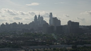 AX79_097 - 5K aerial stock footage video of the skyline, Downtown Philadelphia, Pennsylvania