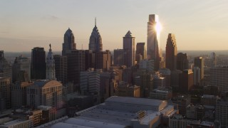 AX80_080 - 5K stock footage aerial video of Downtown Philadelphia's tall skyscrapers, Pennsylvania, Sunset