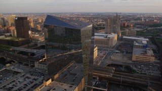 AX80_084 - 5K stock footage aerial video of Cira Centre office building in West Philadelphia, Pennsylvania, Sunset