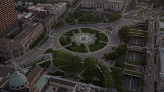 AX80_119 - 5K stock footage aerial video approaching Logan Square in Downtown Philadelphia, Pennsylvania, Sunset