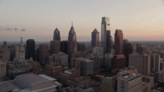 AX80_144 - 5K stock footage aerial video of Downtown Philadelphia's tallest towers at twilight, Pennsylvania
