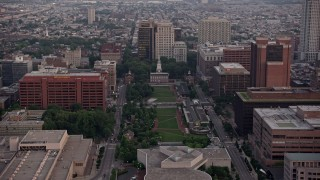 AX80_153 - 5K stock footage aerial video of Independence Hall and Mall, Downtown Philadelphia, Pennsylvania, Sunset