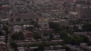 AX80_154 - 5K stock footage aerial video of Ukranian Cathedral Church in an urban neighborhood, North Philadelphia, Pennsylvania Sunset