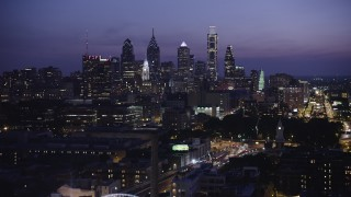 AX81_010 - 5K stock footage aerial video of Downtown Philadelphia skyline, Pennsylvania, Night