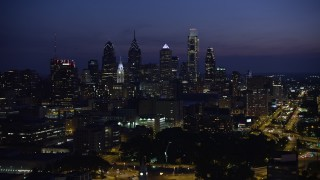 AX81_010E - 5K stock footage aerial video of Downtown Philadelphia skyline, Pennsylvania, Night