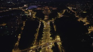 AX81_023 - 5K stock footage aerial video following Benjamin Franklin Parkway to Philadelphia Museum of Art, Pennsylvania, Night