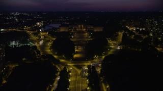 AX81_023E - 5K stock footage aerial video following Benjamin Franklin Parkway to Philadelphia Museum of Art, Pennsylvania, Night