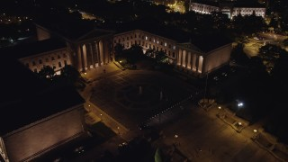 AX81_031 - 5K stock footage aerial video orbiting Philadelphia Museum of Art and fountain, Pennsylvania, Night