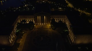 AX81_031E - 5K stock footage aerial video orbiting Philadelphia Museum of Art and fountain, Pennsylvania, Night