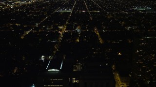 AX81_058 - 5K stock footage aerial video flying over the Mall to approach Independence Hall, Philadelphia, Pennsylvania, Night