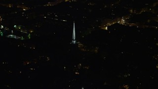 AX81_059 - 5K stock footage aerial video of the steeple atop St. Peter's Episcopal Church, Philadelphia, Pennsylvania, Night
