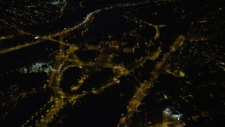 AX81_065 - 5K stock footage aerial video of The Oval park and Philadelphia Museum of Art, Pennsylvania, Night