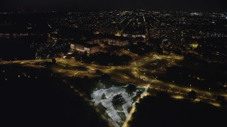 AX81_073 - 5K stock footage aerial video approaching the Philadelphia Museum of Art from Schuylkill River, Pennsylvania, Night