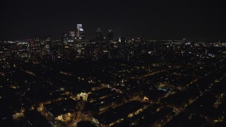 AX81_079 - 5K stock footage aerial video of Downtown Philadelphia high-rises and skyscrapers in Pennsylvania, Night