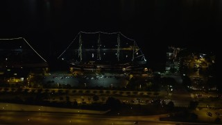 AX81_082 - 5K stock footage aerial video of historic ship Moshulu in Philadelphia, Pennsylvania, Night