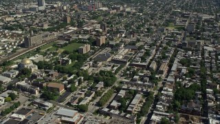 AX82_005 - 5K stock footage aerial video of apartment buildings and urban neighborhoods in North Philadelphia, Pennsylvania