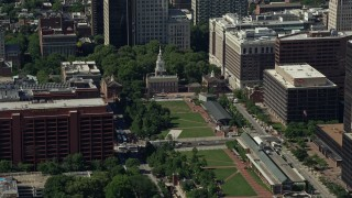AX82_007 - 5K stock footage aerial video of Independence Hall at the end of Independence Mall in Philadelphia, Pennsylvania