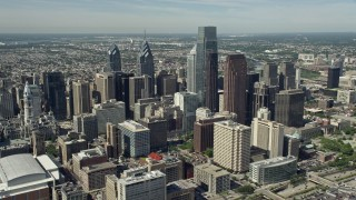 AX82_008E - 5K stock footage aerial video of tall downtown skyscrapers in Philadelphia, Pennsylvania