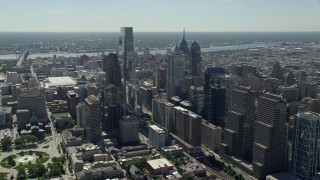 AX82_011 - 5K stock footage aerial video flying by Downtown Philadelphia high-rises and skyscrapers, Pennsylvania